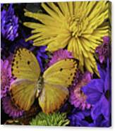 Yellow Butterfly On Bouquet Canvas Print