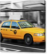 Yellow Cab In Manhattan In A Rainy Day. Canvas Print
