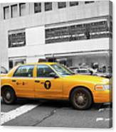Yellow Cab In Manhattan With Black And White Background Canvas Print
