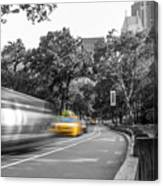 Yellow Cabs In Central Park, New York 3 Canvas Print