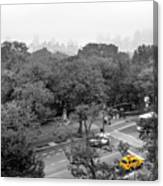 Yellow Cabs Near Central Park, New York Canvas Print