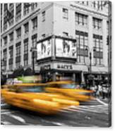 Yellow Cabs Near Macy's Department Store, New York Canvas Print