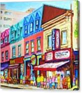 Yellow Car At The Smoked Meat Lineup Canvas Print