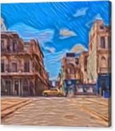 Yellow Car In Cuba Canvas Print