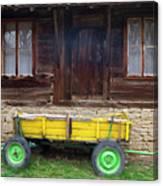 Yellow Cart And Green Wheels  Canvas Print