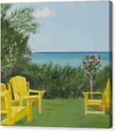 Yellow Chairs At Blue Mountain Beach Canvas Print