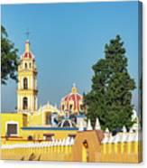 Yellow Church In Cholula, Mexico Canvas Print