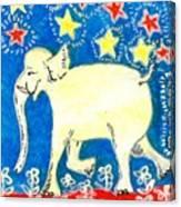Yellow Elephant Facing Left Canvas Print