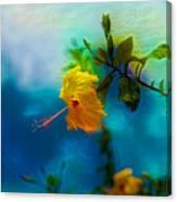 Yellow Flower On Blue Sky Canvas Print