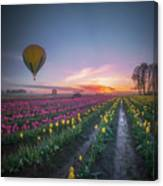 Yellow Hot Air Balloon Over Tulip Field In The Morning Tranquili Canvas Print