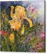 Yellow Iris With Bleeding Hearts Canvas Print