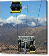 Yellow Line Cable Cars And Andes Mountains Bolivia Canvas Print