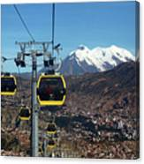Yellow Line Cable Cars And Mt Illimani La Paz Bolivia Canvas Print