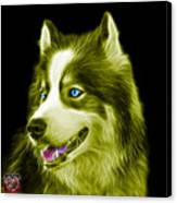 Yellow Modern Siberian Husky Dog Art - 6024 - Bb Canvas Print