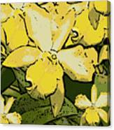 Yellow Orchids Woodcut Canvas Print