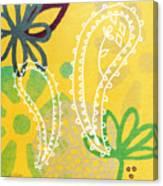 Yellow Paisley Garden Canvas Print