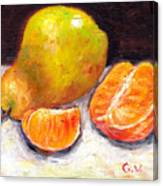 Yellow Pear With Tangerine Slices Grace Venditti Montreal Art Canvas Print