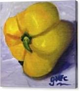 Yellow Pepper On Linen Canvas Print