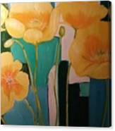 Yellow Poppies On Blue Canvas Print