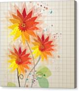 Yellow Red Floral Illustration Canvas Print