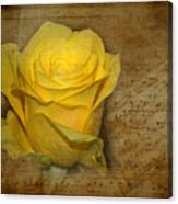 Yellow Rose With Old Notes Paper On The Background Canvas Print