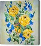 Yellow Roses And Blue Bells Canvas Print