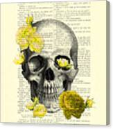 Skull With Yellow Roses Dictionary Art Print Canvas Print
