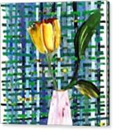 Yellow Tulip In A Pink Vase Canvas Print