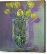 Yellow Tulips In A Glass Canvas Print