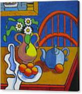 Yellow Vase With Blue Teapot Canvas Print