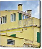 Yellow Worn Out Concrete House Canvas Print