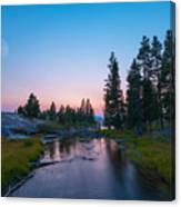 Yellowstone National Park Sunset And Moon Canvas Print