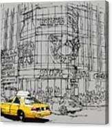 Yelow Cab On New York Streets Canvas Print