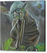 Yoda In Starry Night Canvas Print