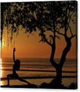 Yoga By The Bay At Sunset Canvas Print