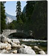 Yosemite Bridge Water Color Photograph Canvas Print