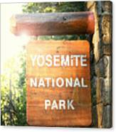 Yosemite National Park Sign Canvas Print
