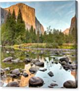 Yosemite Valley Reflected In Merced River Canvas Print