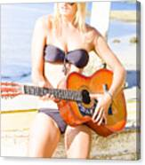 Young Attractive Blonde Woman Playing Guitar Canvas Print
