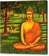 Young Buddha Meditating In The Forest Canvas Print
