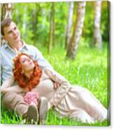 Young Couple In The Park Canvas Print
