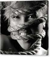 Young Expressive Woman Tied In Ropes Canvas Print