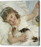 Young Girl And Cat Canvas Print