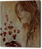 Young Girl And Flowers  Canvas Print