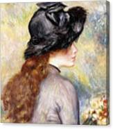 Young Girl Holding A Bouquet Of Tulips, Canvas Print