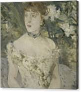 Young Girl In A Ball Gown By Berthe Morisot Canvas Print