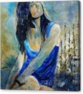 Young Girl In Blue Canvas Print