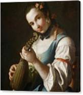 Young Girl Playing Musical Instrument Canvas Print
