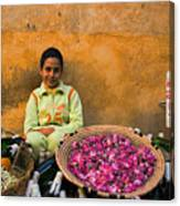 Young Girl Selling Rose Petals In The Medina Of Fes Morroco Canvas Print