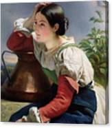 Young Italian At The Well Canvas Print